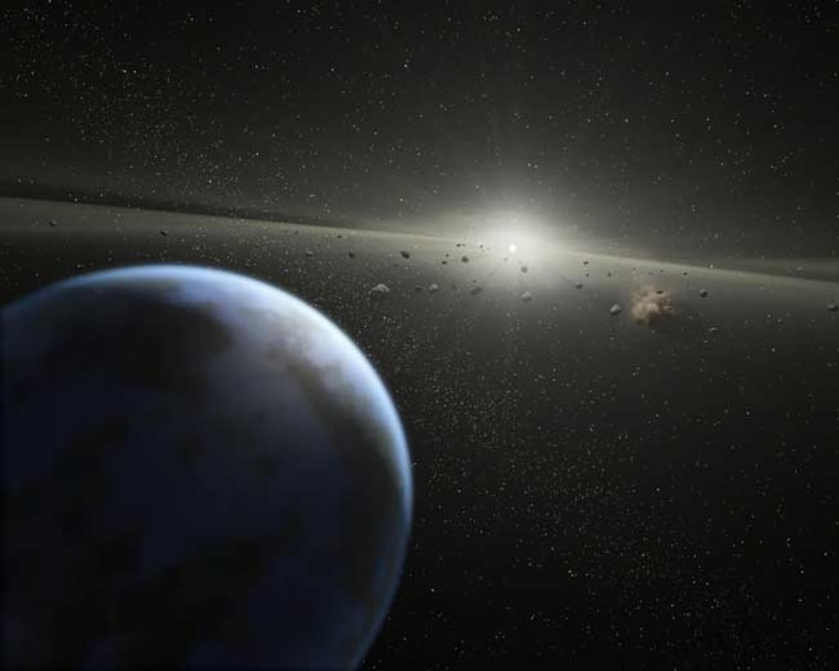 An artist's impression of a massive asteroid belt in orbit around a star. The new work with SDSS data shows that similar rubble around many white dwarfs contaminates these stars with rocky material and water.