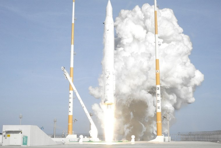 A Korean Space Launch Vehicle 1 rocket, also called Naro, launches into orbit from South Korea's Naro Space Center on Wednesday, successfully carrying a science satellite into orbit.