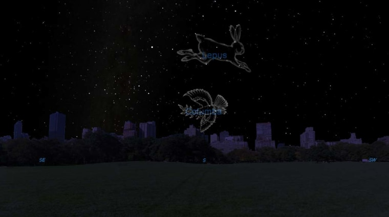 This night sky map shows the location of the constellations Lepus (the Hare) and Columba (the Dove) at 9 p.m. local time for stargazers at midnorthern latitudes. The constellations are located just below the famed Orion star pattern.