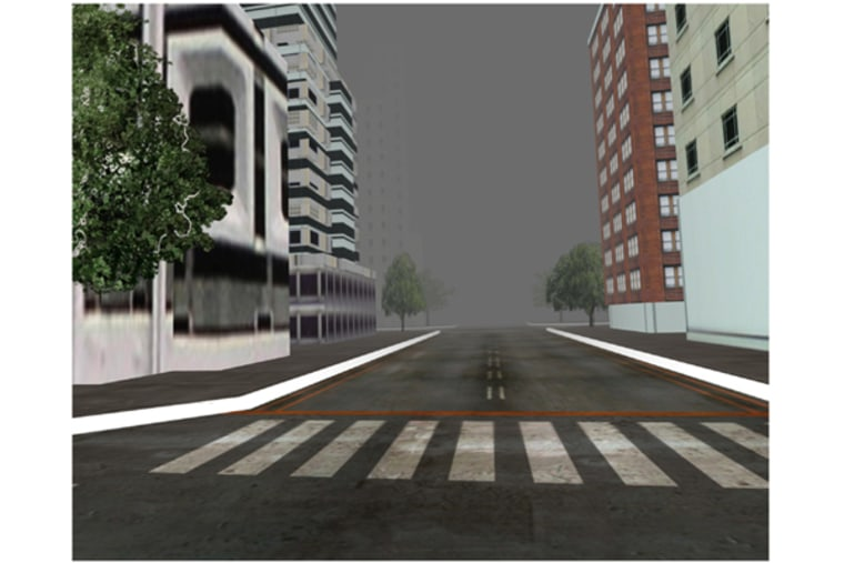 Foggy virtual city.