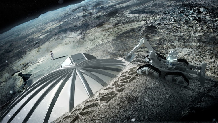 artist's rendering: 3-D printing robot pours hardened lunar dirt