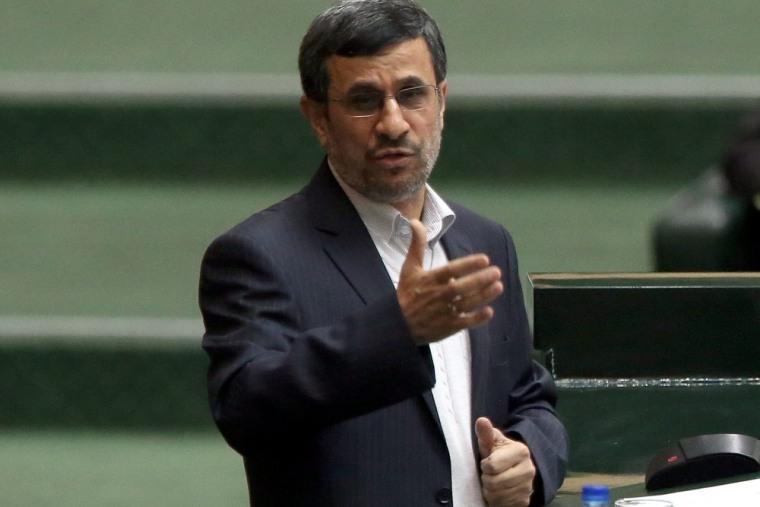 Image: Iranian president Mahmoud Ahmadinejad speaking to the Parliament in Tehran