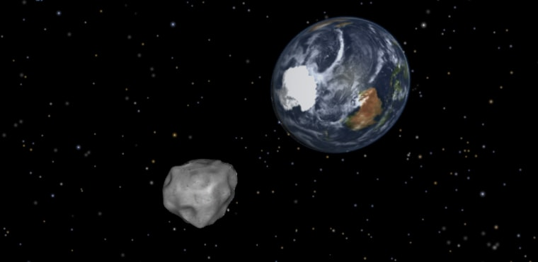 This NASA diagram depicts the passage of asteroid 2012 DA14 through the Earth-moon system on Feb. 15.