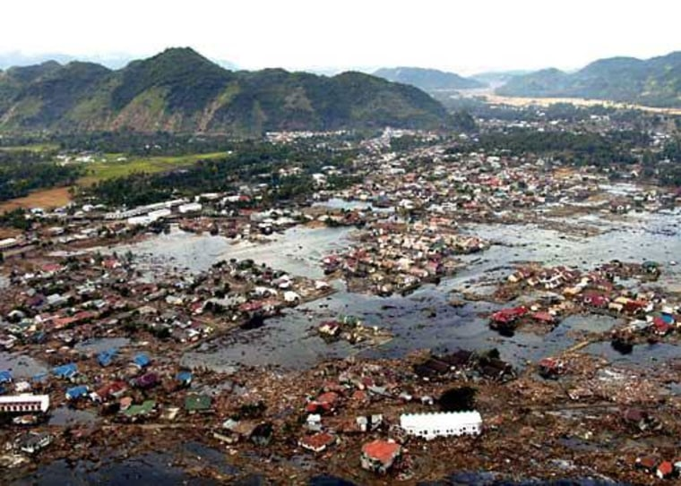 A village near the coast of Sumatra lays in ruin on Jan. 2, 2005, as a result of the tsunami that struck Southeast Asia on Dec. 26, 2004.