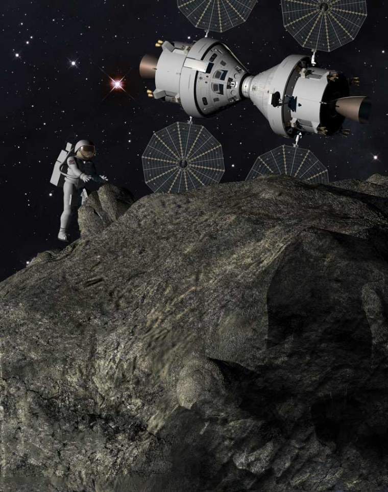"This artist's illustration depicts a ""Plymouth Rock"" asteroid mission with astronauts and NASA's Orion spacecraft as envisioned by Lockheed Martin."