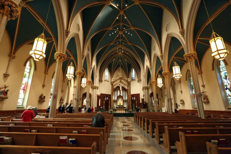 The Cathedral of St. Augustine, in Bridgeport, Connecticut, where Monsignor Kevin Wallin was removed as pastor.