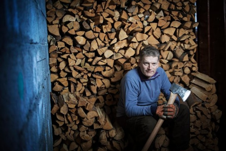 """Lars Mytting at his home in Elverum, Norway. His best-selling book, """"Solid Wood: All About Chopping, Drying and Stacking Wood — and the Soul of Wood-Burning,"""" inspired a TV program about cutting, stacking and burning firewood."""