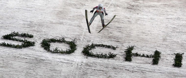 Image: File photo of Iraschko from Austria soaring through the air during the women's Sochi Ski Jumping World Cup in Krasnaya Polyana