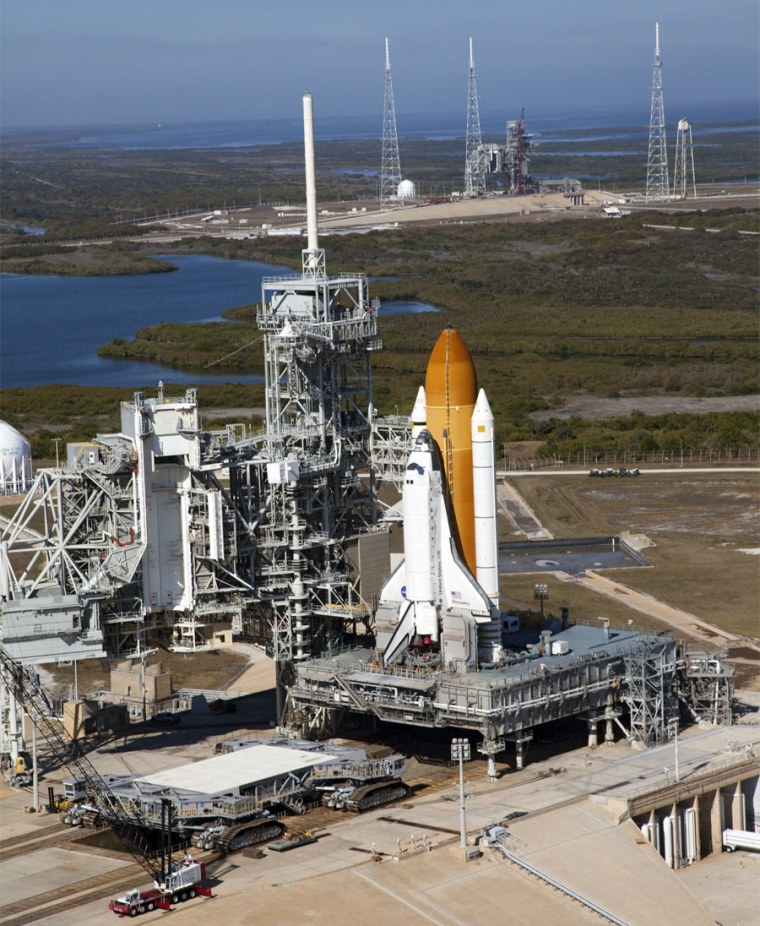 Space shuttle Discovery stands tall at Launch Pad 39A at NASA's Kennedy Space Center in Florida.