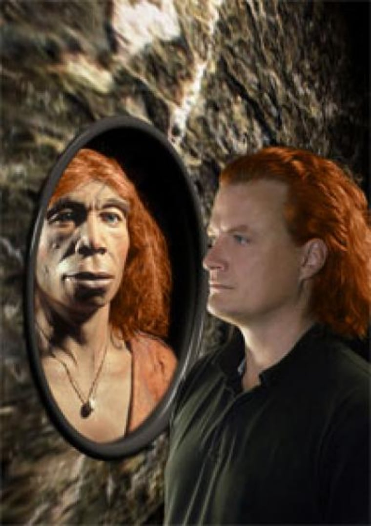 A Neanderthal and human face to face.