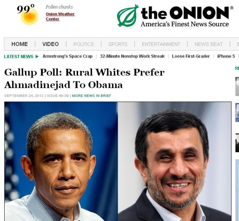 This fake article appeared on TheOnion.com on Sept. 24.
