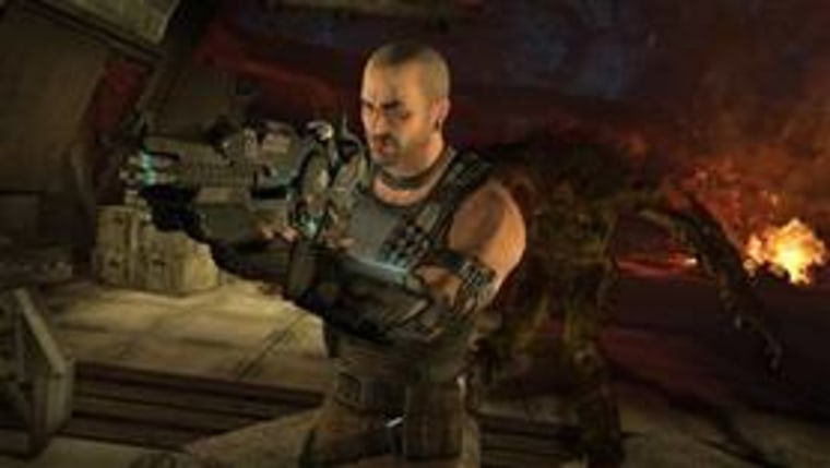 """In this video game image released by THQ, Inc., Darius Mason is shown in a scene from the game, """"Red Faction Armageddon."""""""