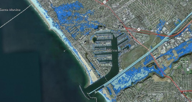 A report for state agencies mapped areas along California's coast that can expect flooding if warming continues unabated. This area is along Venice Beach and Marina Del Rey inLos Angeles. Dark blue represents flooded areas if sea levels were to rise by five feet. Light blue represents areas known to expect a flood once every 100 or so years.