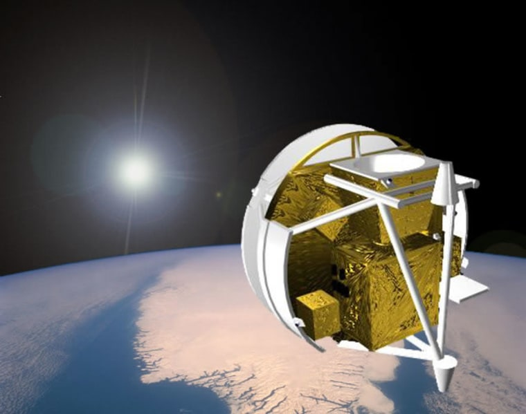 An artist's illustration of the Canadian Space Agency's SCISAT-1 satellite in orbit, which is carrying the Atmospheric Chemistry Experiment to track carbon dioxide levels in Earth's atmosphere.