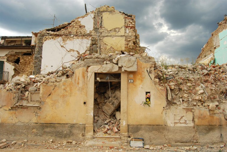 The earthquake caused the old buildings in the medieval city of L'Aquila in Abruzzo, Italy, to crumble.