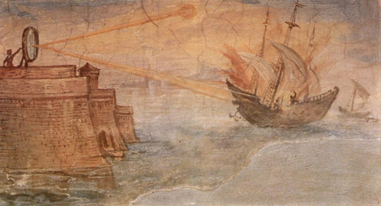 A wall painting from the Uffizi Gallery, Stanzino delle Matematiche, in Florence, Italy, shows the Greek mathematician Archimedes' mirror burning Roman military ships. Painted in 1600 by Gieulio Parigi.
