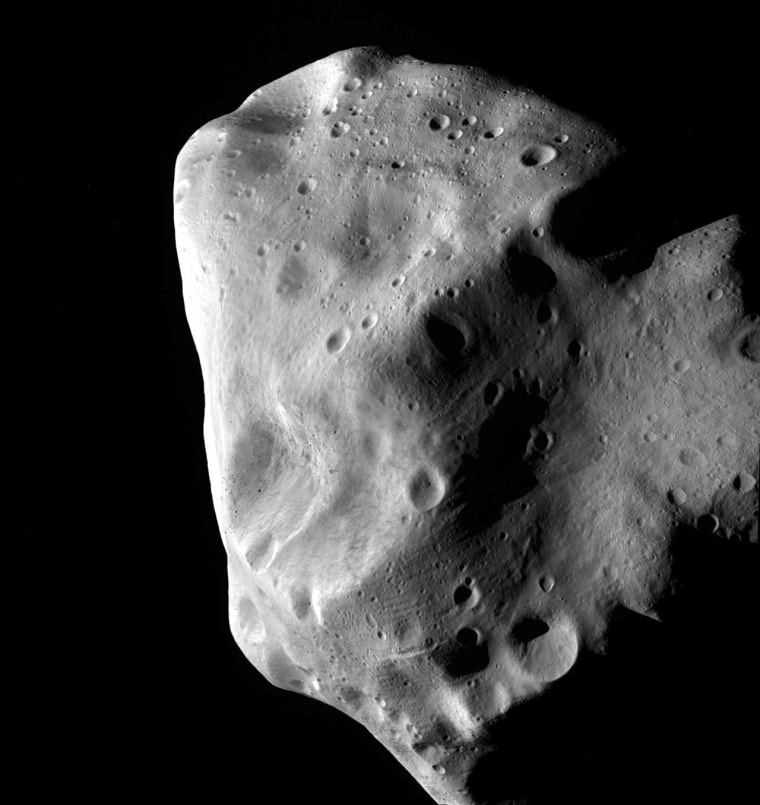 This image of the asteroid Lutetia was taken by the European Space Agency's Rosetta probe during its closest approach in July 2010. Lutetia, which is about 60 miles across, seems to be a leftover fragment of the same original material that formed the Earth, Venus and Mercury. It is now part of the main asteroid belt, between the orbits of Mars and Jupiter, but its composition suggests that it was originally much closer to the sun.