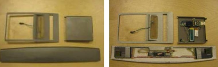 The ATM skimmer uses components from a cassette player.