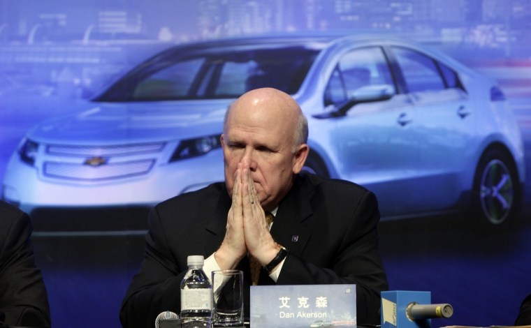 Image: GM Chief Executive Daniel Akerson pauses in Beijing