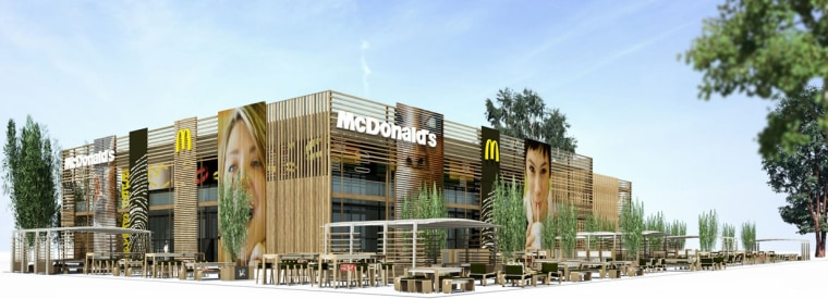 An artist's rendering of the 32,000-square-feet McDonald's restaurant planned for the 2012 London Olympics.