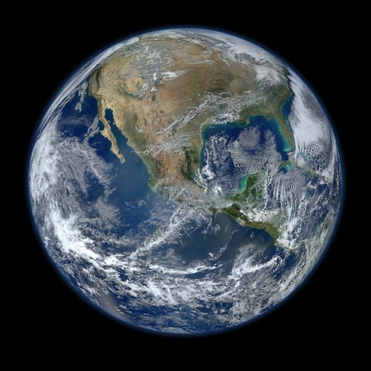 This composite image uses a number of swaths of the Earth's surface taken on January 4, 2012.