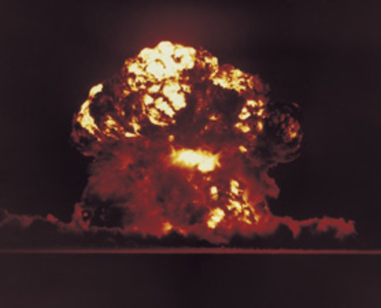 A nuclear bomb test is shown in Nevada, Aug. 18, 1957. Nuclear or near nuclear war/engagement between any two nations could have a hand in human extinction, research concludes.