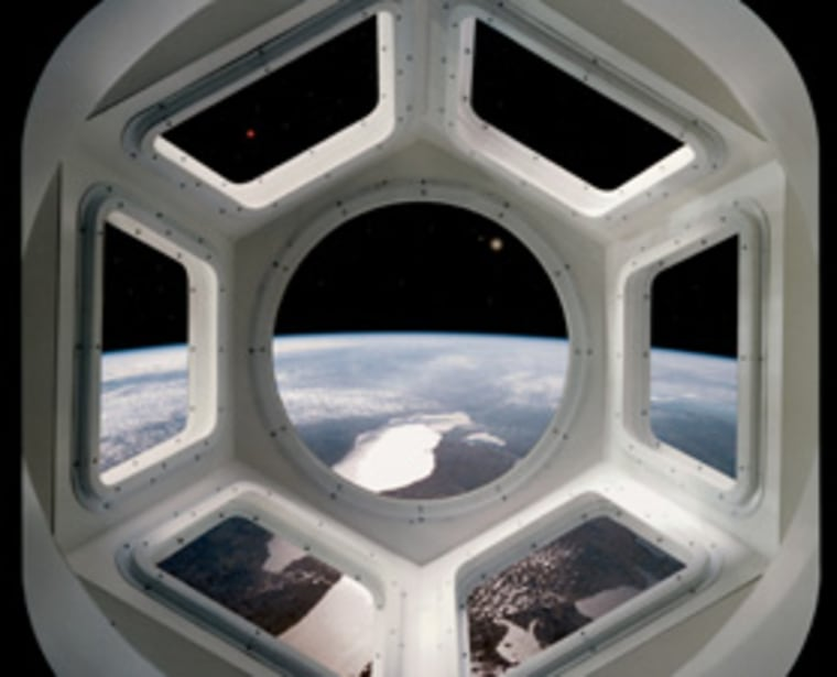 A computer-generated scene gives the perspective of a crewmember looking through a viewing dome, called the Cupola, on the International Space Station. Several of the Great Lakes help to form the backdrop for the scene. The cupola will be installed this year.