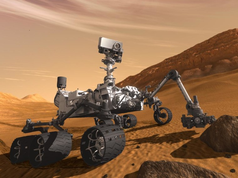 This artist's concept features NASA's Mars Science Laboratory Curiosity rover, a mobile robot for investigating Mars' past or present ability to sustain microbial life. Curiosity is slated to launch toward the Red Planet on Nov. 25, 2011.