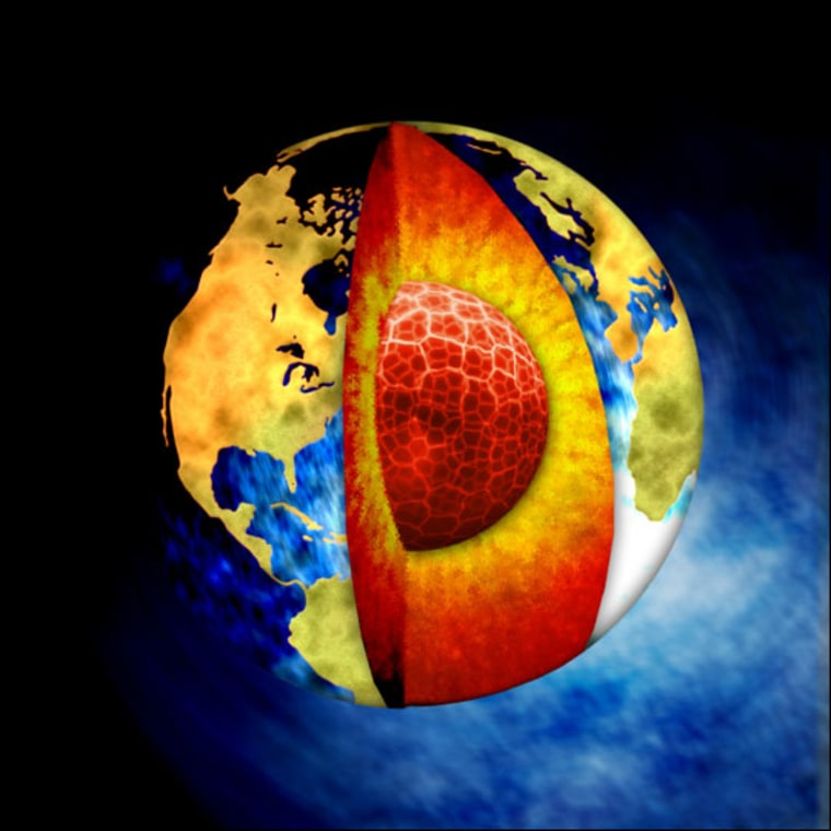 Core Question  Pictured here is the classic illustration given in many science textbooks to explain the structure of Earth's interior. But a controversial new theory suggesting Earth has not one but two inner cores -- if supported by future research -- may revise the picture.