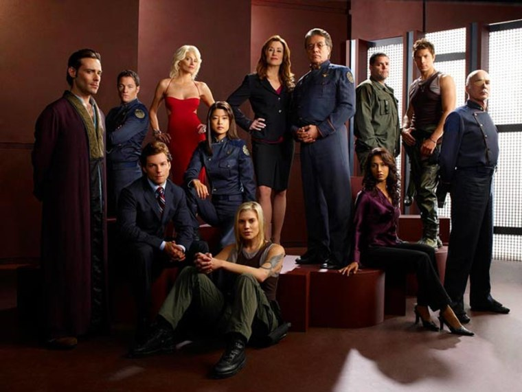The cast of TV's 'Battlestar Galactica' on the SciFi Channel. Credit: SciFi Channel.
