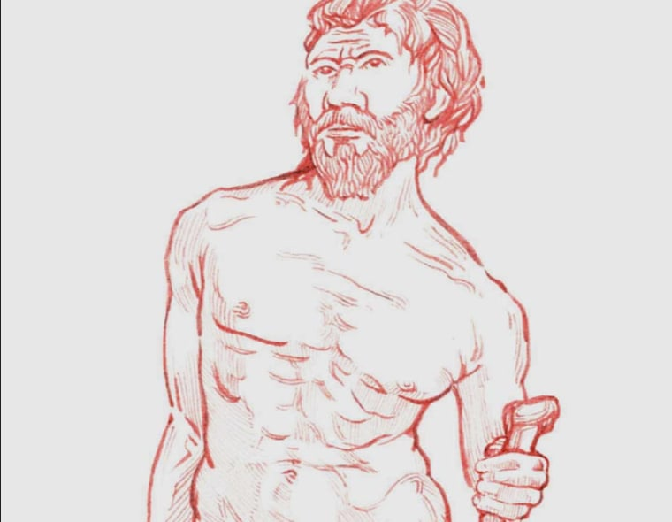 This illustration reveals what the aged individual found at Sima de los Huesos may have looked like in his own time.