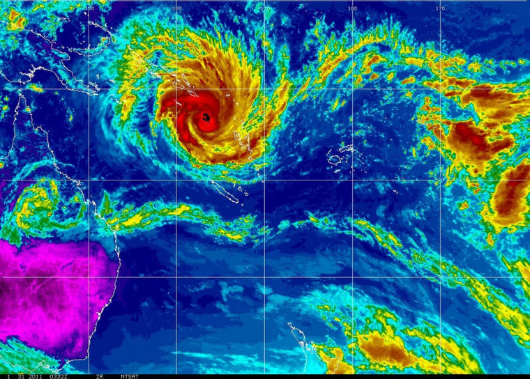 Image: A satellite image shows tropical cyclone Yasi