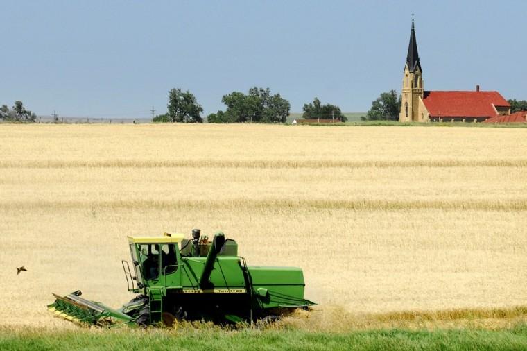 Image: Harvesting wheat in Kansas