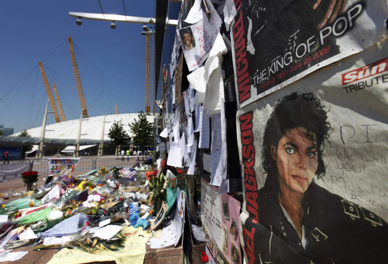 Image: A makeshift shrine for Michael Jackson is seen outside the O2 arena in southeast London
