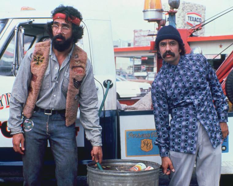 Nike will pay homage to Tommy Chong, left, in his iconic red bandana, and Cheech Marin with the Cheech & Chong shoe on April 20.