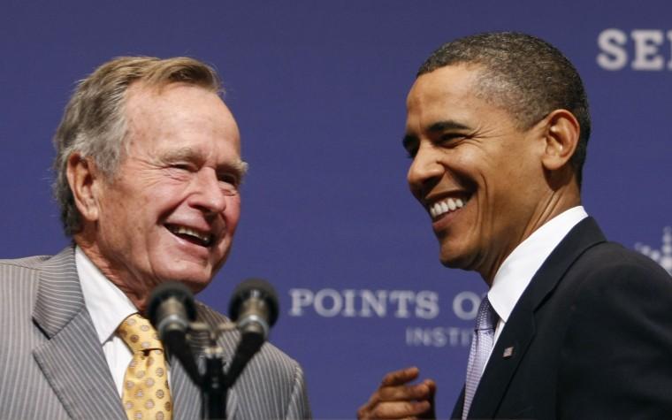 Image: U.S. President Barack Obama and former President George H.W. Bush