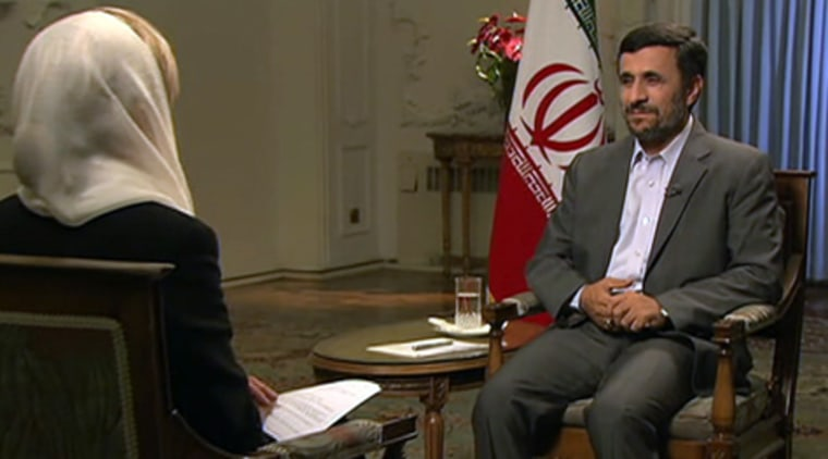 NBC's Andrea Mitchell interviews Iranian President Mahmoud Ahmadinejad on Wednesday.