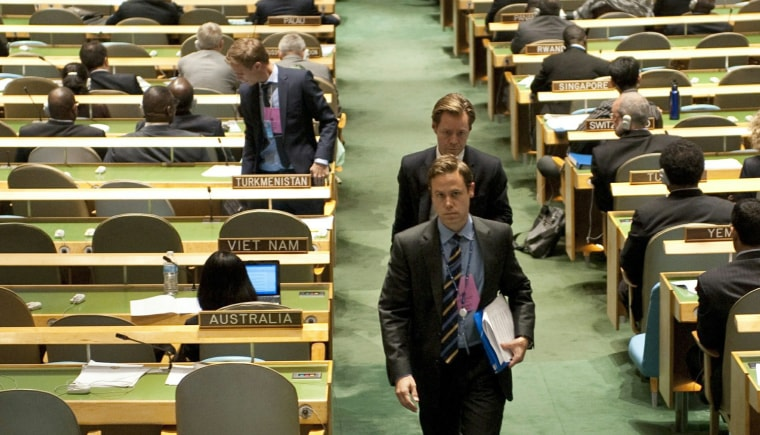 Image: Diplomats walk out of the United Nations