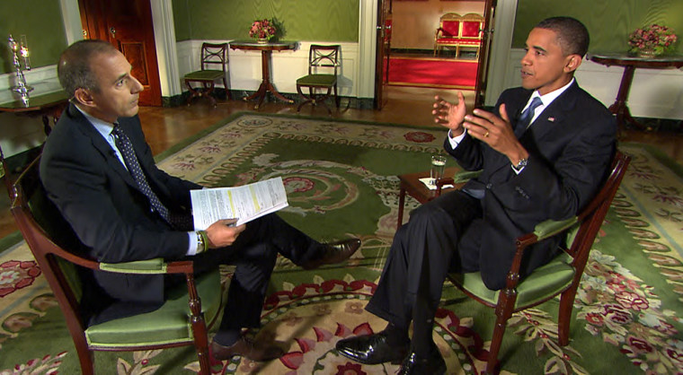President Barack Obama talks to TODAY's Matt Lauer in the Green Room of the White House.