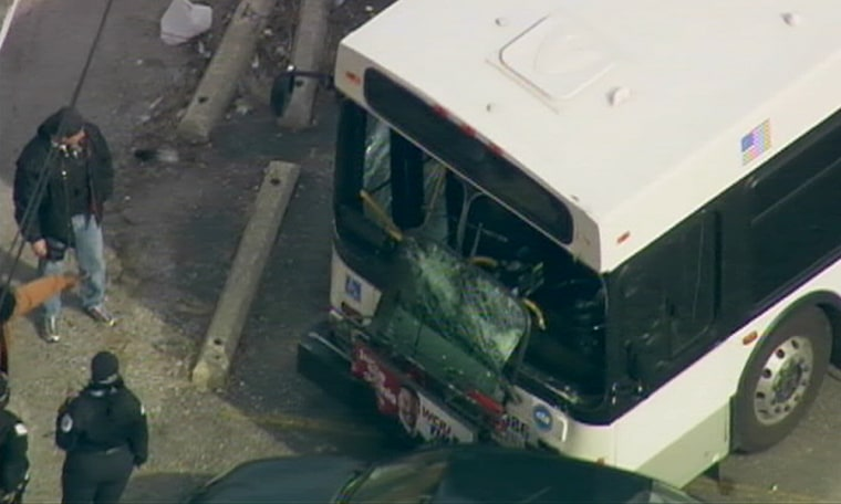 Police investigate a shooting Tuesday that apparently caused a Chicago Transit Authority bus to crash in Englewood.