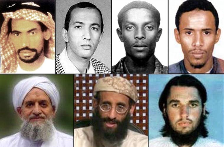 Top row, from left: Ali Saeed Bin Ali al-Hooriyeh, Saif Al-Adel, Fazul Abdullah Mohammed (who was killed recently), and Fahd Mohammed Ahmed al-Quso. Bottom row, from left:Ayman al-Zawahiri, Anwar al-Awlaki, and Adam Yahiye Gadahn.
