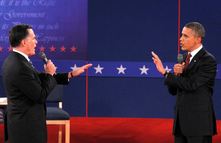 Image: U.S. President Obama and Republican presidential nominee Romney interact during the second U.S. presidential debate in Hempstead