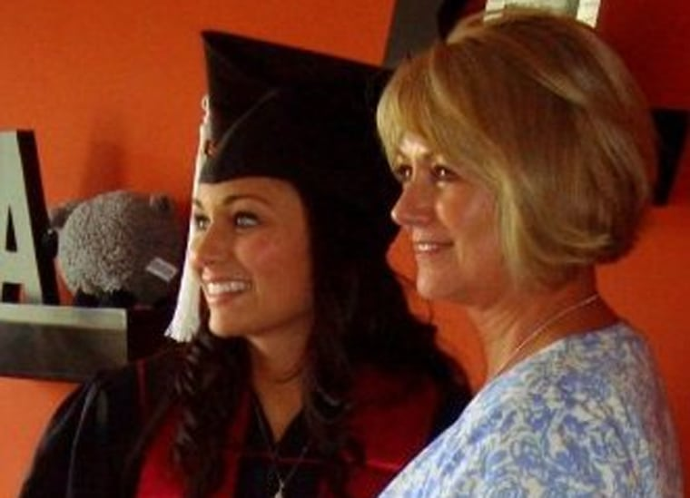 Ashley Jackson, left, pictured here at her college graduation from Indiana Universityin Bloomingtonwith her mother, Rise Conn.,says as a teenager, she and her mom bonded over their mutual love for indoor tanning.