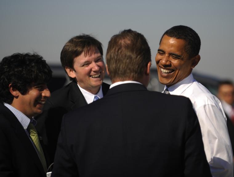 Image: Sen. Barack Obama with campaign staff