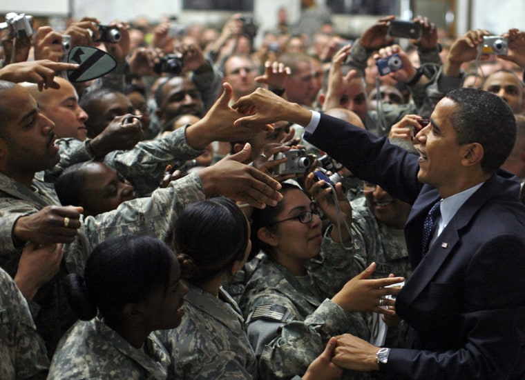 Images: U.S. President Barack Obama greets troops at Camp Victory in Baghdad