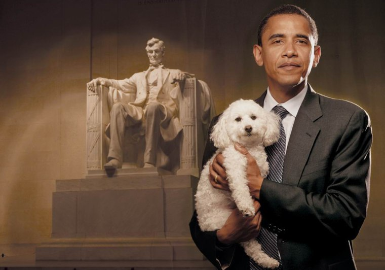 "As part of a campaign to stop puppy mills, then-Senator Barack Obama posed at the Lincoln Memorial with Baby, a poodle who survived a puppy mill but lost one of her legs from the ordeal. The image will appear in the upcoming book, ""A Rare Breed of Love"" by Jana Kohl."