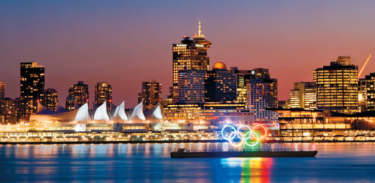 Image: Vancouver skyline with Olympic Rings in Coal Harbour