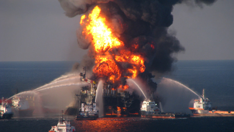 The deepwater horizon oil rig burns on Wednesday (AP file)