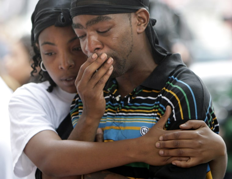 Image: Teddy Canada and Chaliah Griffin mourn the loss of their daughter