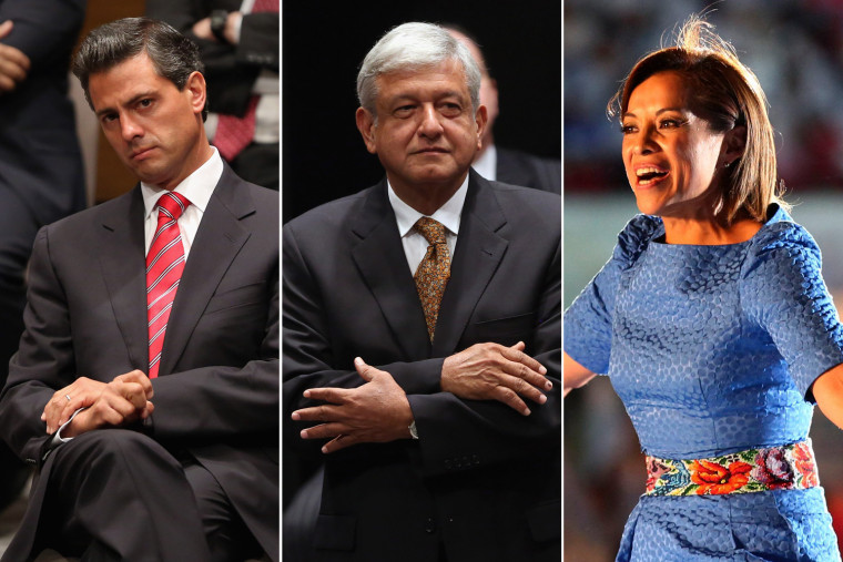 Image: Mexican Presidential candidates Enrique Pena Nieto, Andres Manual Lopez Obrador and Josefina Vazquez Mota.